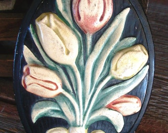 VINTAGE TULIP PLAQUE, 1930's Era Raised Flowers On Black Base, Antique Charm, Small Plaster Wall Decor