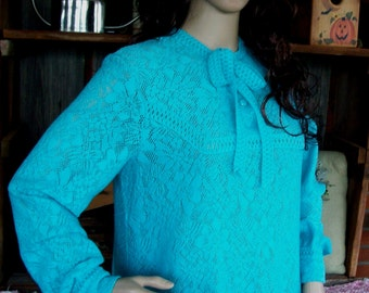 """Vintage CROCHET ROBE/Beach COVER-Up, Size Medium-Large, """"Perosa"""" Foreign Made Piece, Beautiful Blue & Ultra Soft"""