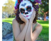 Rainbow Dash - Day of the Dead Unicorn Colorful heart horned Spider Web Daisy Pink Teal Sugar candy skull Dia De los Muertos Katrina mask