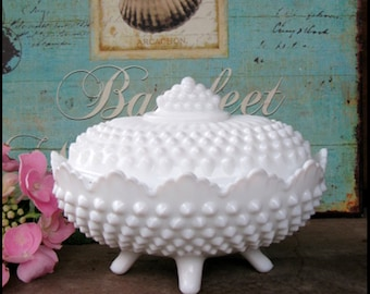 Vintage Fenton Milk Glass Covered Candy Dish / Fenton Hobnail Milk Glass