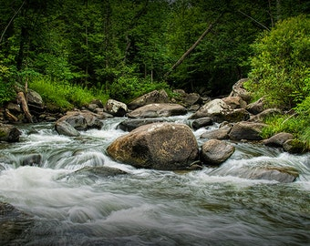 Cascading Water in a Rocky Vermont Wilderness River Stream No.074 - A Fine Art Woodland Nature Photograph