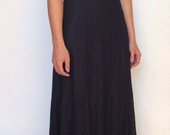 Vintage 90's /// Black Lace A Line /// Gothic Sweetheart Dress