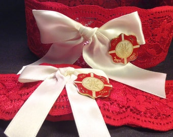 Firefighter Red Stretch Lace Wedding Garter Set with Fireman's Emblem