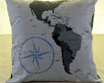 Compass Map Pillow Cover
