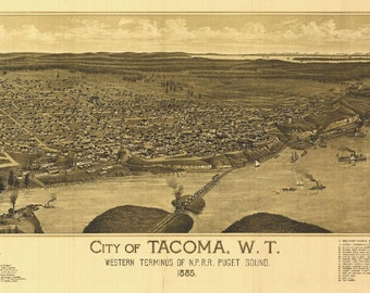 Tacoma Washington Birds Eye View Map 1885