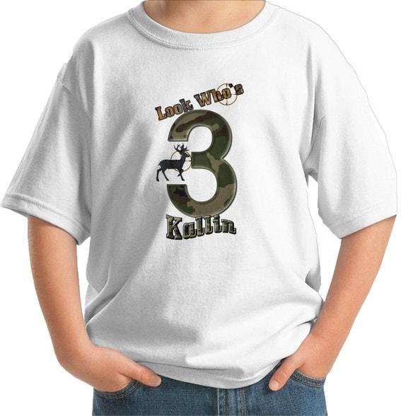Big number big game hunter birthday t shirt by for Custom boat t shirts