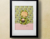 Hide Together // Illustration Print, Pink Green, Digital Print, Giclee, Kids Room, Nursery Art, Friendship, Love, Romance, Quirky Modern Art