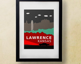 Lawrence Kansas // Trendy Modern Nursery Decor, Kids Art Poster, City Skyline, Typography Print, Giclee, Travel Theme, Digital, Supernatural