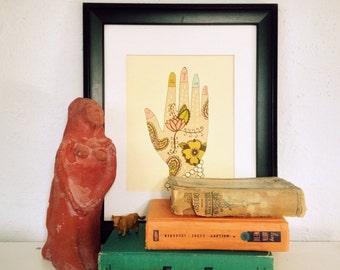 Guru // Illustration Print, Spiritual, Inspirational, Hindu, Yoga, Ohm, Meditation, Giclee, Digital, Typographic Print, Hand, Lisa Barbero