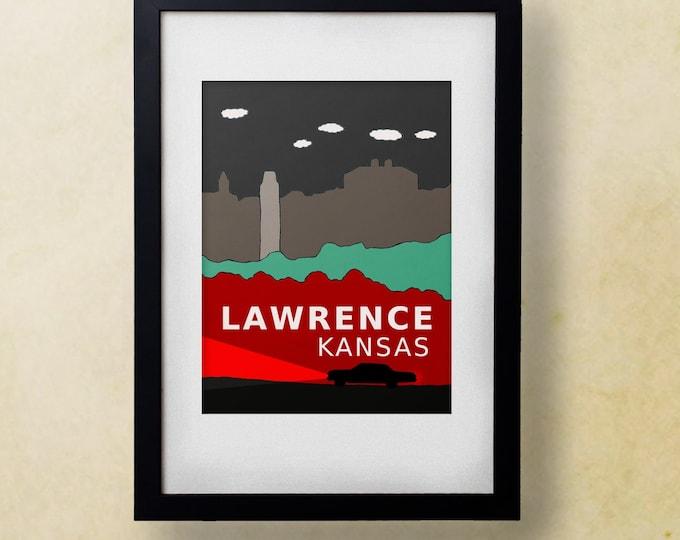 Lawrence Kansas // Trendy Modern Nursery Decor, Kids Art Poster, City Skyline, Typography Print, Giclee, Travel Theme, Digital, Supernatural