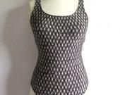 Vintage 1980s Swimsuit Jantzen Black Stripe High Cut 1pc Bathing Suit 10