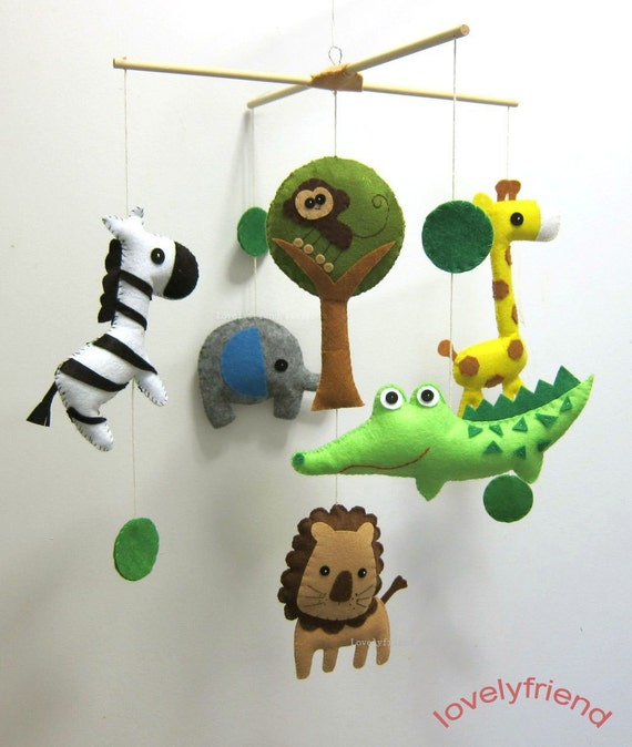 """Baby Crib Mobile - Baby Mobile - Baby Boy Felt Mobile - """" Jungle Alligator and his Friends"""" (Pick your color)"""