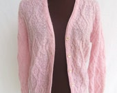 Vintage 60s Sweater Cardigan Pink Wool Mohair Cable Knit Jantzen Size 36 Women