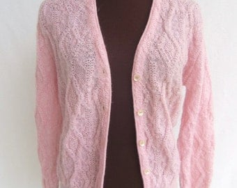 Vintage 60s Sweater Cardigan Pink Wool Mohair Cable Knit Jantzen Size 36 Women