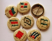 Vintage Cigarette Pins Pinbacks Sweet Caporal Buttons Badges Tokens Advertising Collectibles Country Nations Flags Collection Persia Cuba