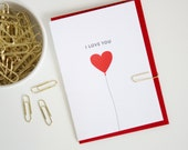 I Love You Balloon  - Letterpress