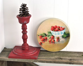 Retro Vintage Storage Tin & Serving Tray Set Fresh Strawberries Kitchsy Kitchen Container