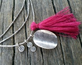 Long Tassel Necklace, Sterling Silver Waved Disc Charm and Fuchsia Pink Tassel, Dainty Necklace, Boho Hippy Delicate Friendship Necklace