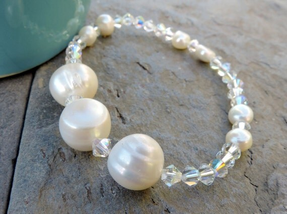 Wedding Dream/ Bride/ Bridesmaids/  White Cultured Freshwater Pearl, Clear AB Swarovski Bicone Three Giant Pearls OOAK Stretch Bracelet
