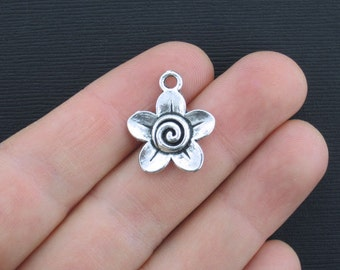 5 Flower Charms Antique Silver Tone Clean and Elegant Design- SC1053