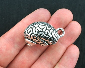 Human Brain Charms Antique Silver Tone 3D Incredible Detail - SC1763