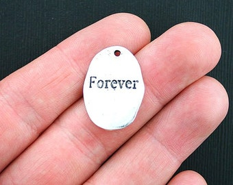 4 Forever Disk Charms Antique Silver Tone - SC3626