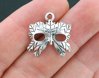 6 Mask Charms Antique Silver Tone  Masquerade Leaf Mask - SC4044
