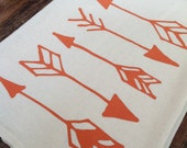 Tea Towel - Orange Arrows on Organic Natural Unbleached Screen Printed Harvest Pumpkin Flour Sack Kitchen Dish Cloth Fall Woodland Katniss