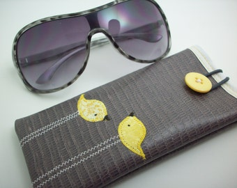 Eyeglass or Sunglass case in grey with yellow birds