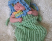 Forget Me Not Flower Baby Cocoon (0-3) Months Photo Prop Ready to ship