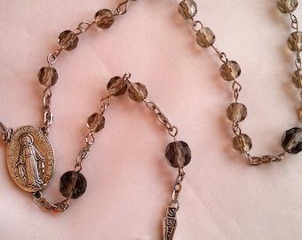 Smoky Gray Glass Rosary