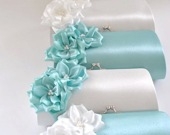 Set of 8  Bridesmaid clutches / Wedding clutches  - Custom Color