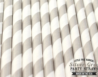 SILVER / LIGHT GREY Striped Biodegradable Paper Straws & Digital Flags - -Made in the U S A - - F D A approved - Ships within 1 Business Day