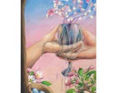 """Hands holding an overflowing cup, apple blossoms, beginnings - """"My Cup Runneth Over"""" - Blank Note Card - Greeting Card, Anniversary, Wedding"""