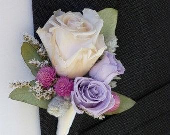 Wedding Boutonniere - VICTORIAN LILAC, Groom's boutonniere, Wedding flowers, Groomsmen, Preserved flowers, Wedding decor.
