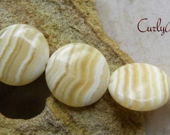 Soapstone Semi Precious Stone Beads, 18mm Puffed Coin, Beautiful Soft Yellow, White Wavy Striped, 5 Pcs.