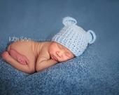 Crochet Baby Bear Beanie Hat Newborn - Soft Blue - MADE TO ORDER