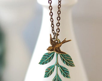 Swallow Bird Leaf Necklace. Verdigris Patina Teal Blue Leaf Branch Antiqued Brass Swallow Bird Necklace. mothers day gift, gift for mom