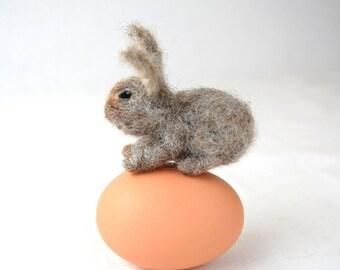 Miniature Animal. Needle Felted Rabbit. Felted Toy. Needle Felted Animals. Small Woodland Animal. Rabbit Toy. Wool Felt Animal. Felted Bunny