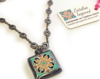 Tile Design Spanish, Mexican, Catalina Island Tile, Inspired on Antique Gold-Plated Brass Chain