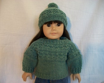PDF Knitting Pattern Gansey Sweater and Hat fits 18 inch Doll / American Girl
