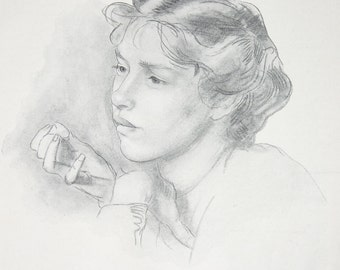 Portrait of a Girl Lead Pencil Drawing by Henry Tonks Vintage Print