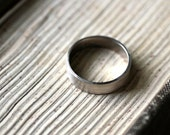 Men's Gold Wedding Band, 5mm Wide Brushed Flat 14k Recycled Palladium White Gold Wedding Ring Gold Ring -  Made in Your Size