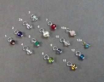 Add on, Birthstone Charm, Luxe AAA Genuine Gemstone, Tiny Charm, Add On Jewelry, Custom Jewelry, small charm, gifts under 10, birthday gift,