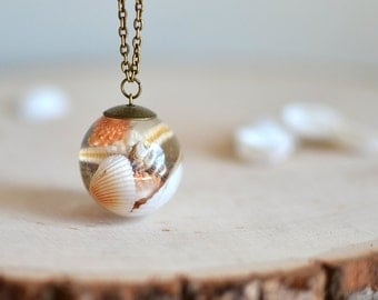 Seashell necklace resin necklace,  seashell jewelry, beach wedding, gift for a woman, terrarium necklace,