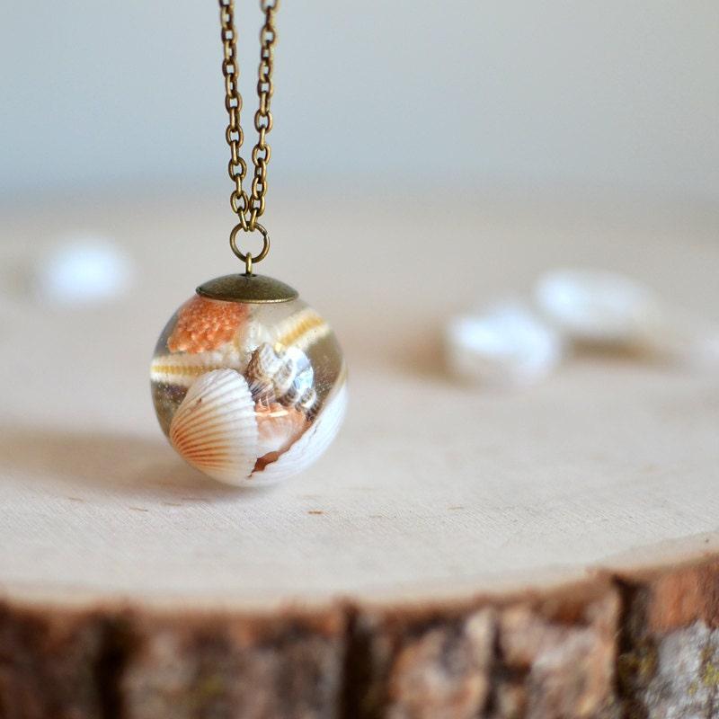 Make Your Own Seashell Jewelry: Seashell Necklace Resin Necklace Seashell Jewelry Beach