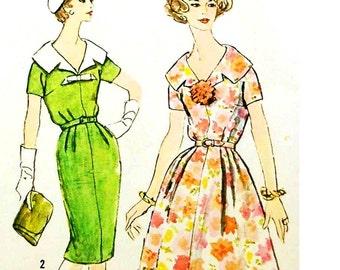 Vintage 1950s Dress Pattern Uncut Petite Plus Bust 43 Size 22.5 Simplicity 2969