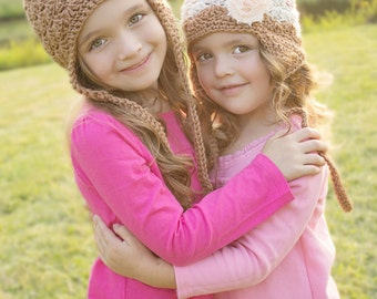 Hat Set Crocheted Shell earflap Style Beanie for Sisters, Twins, or Mother/Daughter in Almond, Dusty Rose and Linen with Shabby Flower clips