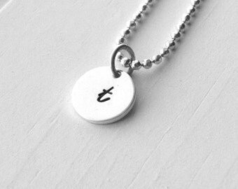 Initial Necklace, Sterling Silver Jewelry, Letter t Necklace, Initial Jewelry, Hand Stamped Jewelry, Charm Necklace, All Letters Avail, t