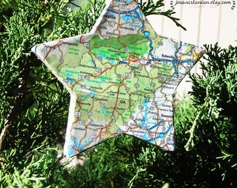 Custom Map Star Christmas Ornament. You choose any Location In USA or World.